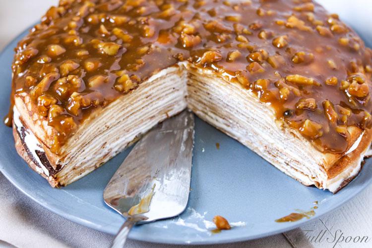Блинный торт. Десерт. Карамель. Рецепт блинов