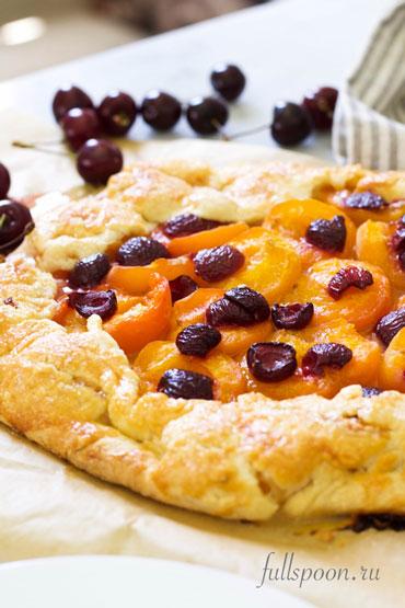 Открытый пирог с абрикосами, летний пирог, рецепт пирога