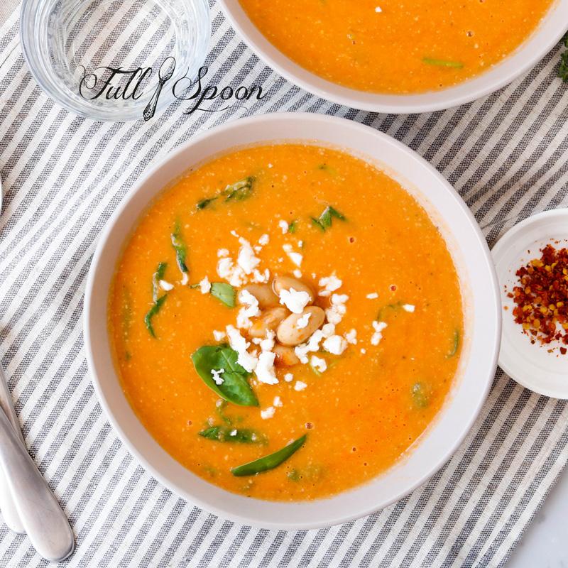 Томатный суп-пюре с фасолью