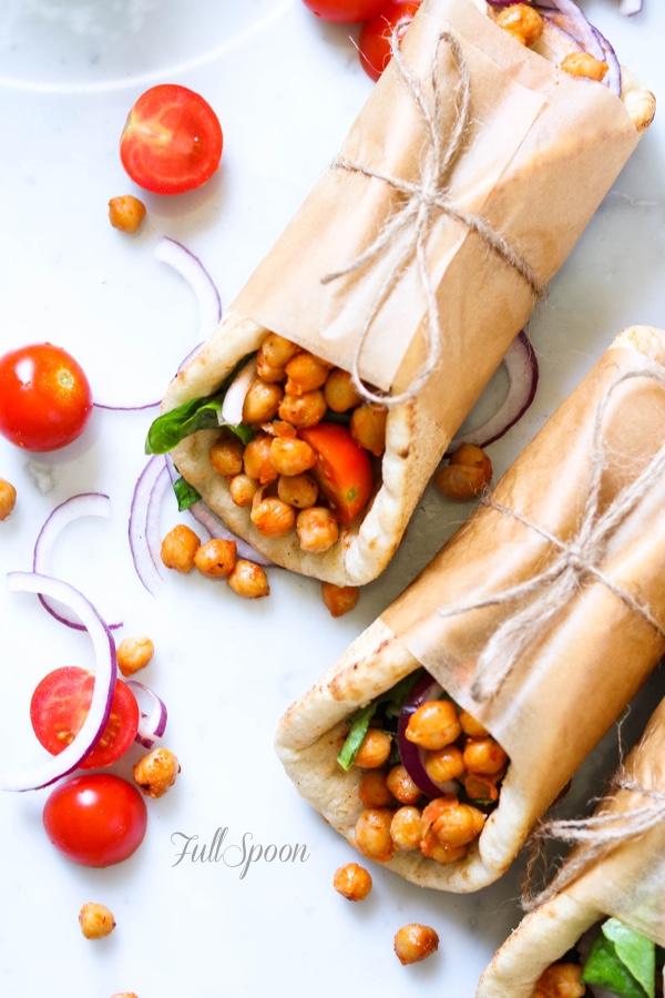 нут, рецепты с нутом, здоровое питание, пита, овощи