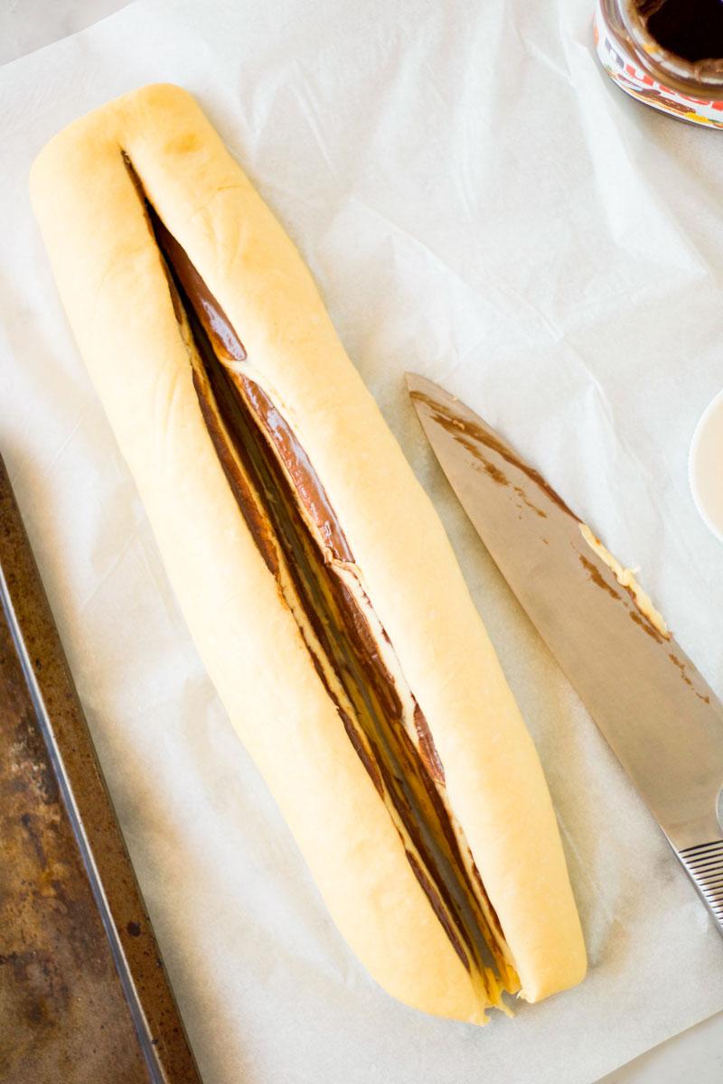 Хлеб плетенка с шоколадной пастой